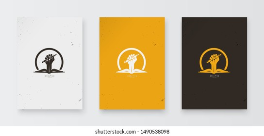 Pencil and hand book logos become a concept of empowerment, cool and elegant vector for icons or logos,