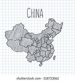 Pencil hand drawn China map vector on paper illustration.