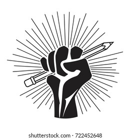 Pencil in hand - fight for education creative fist hand with pencil of idea. idea revolution concept and knowledge in attaining freedom and control, vector