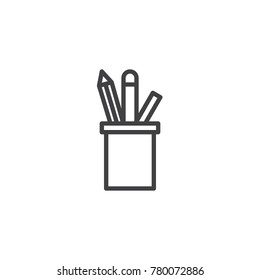 Pencil holder line icon, outline vector sign, linear style pictogram isolated on white. Stationery pen cup symbol, logo illustration. Editable stroke