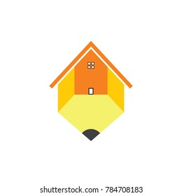 pencil house school symbol logo vector