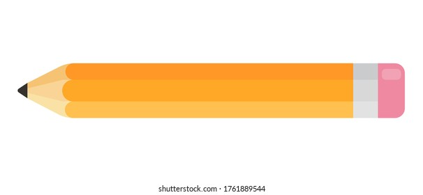 Pencil icon in flat style. Stationery drawing tool. Yellow pencil on white background.