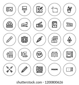 Pencil icon set. collection of 25 outline pencil icons with arrow, arrows, artboard, blackboard, color palette, blueprint, brush, creativity, education icons. editable icons.