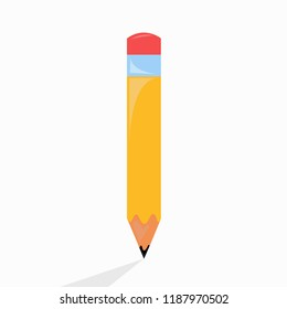 Pencil icon Vector illustrationwhite background with shadow.