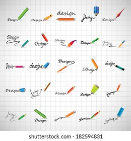 Pencil Icons Set - Isolated On Gray Background - Vector Illustration, Graphic Design Editable For Your Design