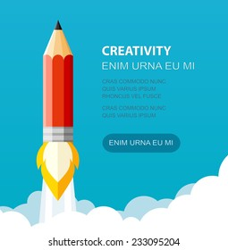 Pencil Illustration flat style. Creative start. Can be used for presentation, web page, booklet, etc.