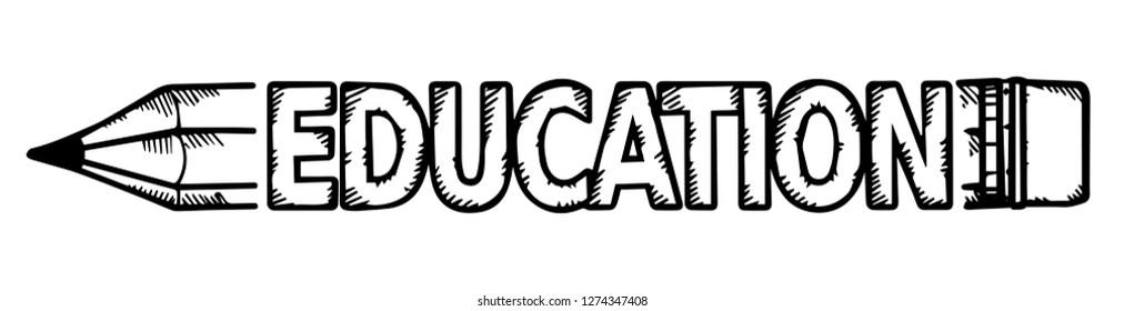pencil and inscription education. vector illustration.