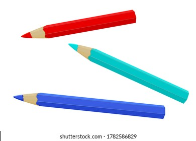 Pencil isolated on white background. Three realistic colored pencil sharpened. Colored crayons set loosely arranged. Wooden pencils  for drawing or write icon. Back to School.Stock vector illustration