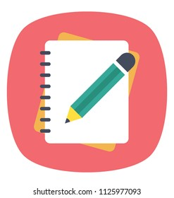 Pencil with notebook, flat design writing concept