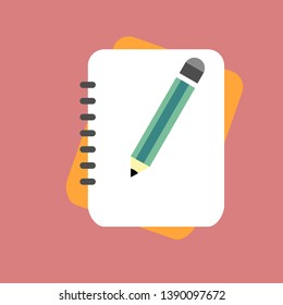 Pencil with notebook, flat design writing concept.