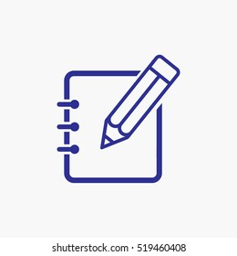 Pencil and Notebook Icon Symbol design