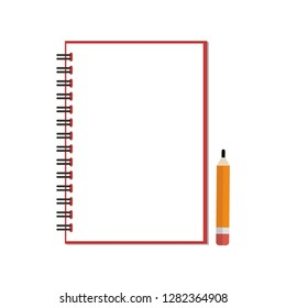 Pencil with notebook on white background, memo book, Meeting report book, Office material, Stationary, School supplies. Design by Inkscape.
