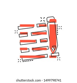 Pencil notepad icon in comic style. Document write vector cartoon illustration on white isolated background. Pen drawing business concept splash effect.