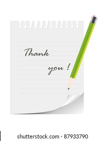 "Pencil and notepad with the words ""Thank you""/ Pencil and notepad"