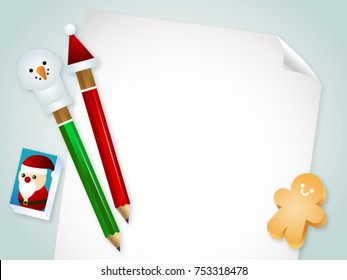 pencil on white paper background with eraser and gingerbread, Christmas vector concept. Christmas vector top view background with
