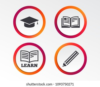 Pencil and open book icons. Graduation cap symbol. Higher education learn signs. Infographic design buttons. Circle templates. Vector