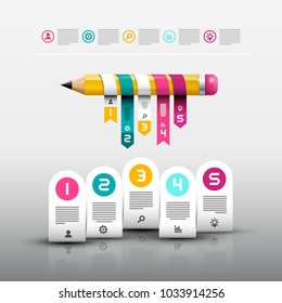 Pencil with Paper Labels. Vector Web Design Layout. Infographic Template. Modern 3d Infographics Design.
