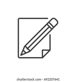 Pencil and paper line icon, outline vector sign, linear style pictogram isolated on white. Write, edit symbol, logo illustration. Editable stroke. Pixel perfect vector graphics