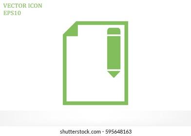 pencil paper sheet vector icon.