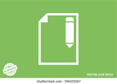 pencil paper sheet vector icon
