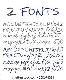 Pencil and pen texture handwriting font. Vector illustration.