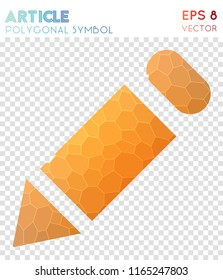 Pencil polygonal symbol, attractive mosaic style symbol. Uncommon low poly style, modern design.