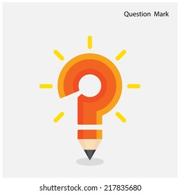 Pencil question mark on background. Education concept. Vector illustration
