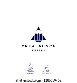 pencil rocket launch logo vector icon illustration