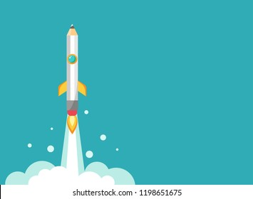 pencil rocket ship with fire. Isolated on powder blue. fantasy flat vector illustration with flying pencil. Creativity, imagination, ideas horizontal background. Knowledge and inspiration illustration