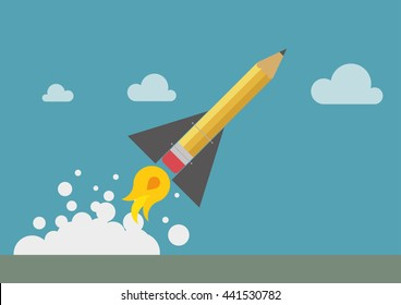 Pencil rocket in yellow with smoke and launch ground