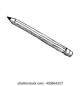 Pencil with a rubber - drawing