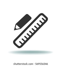 Pencil and Ruler. Flat Vector Icon.