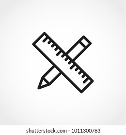 Pencil and ruler Icon Isolated on White Background