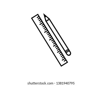 Pencil and ruler icon - Vector