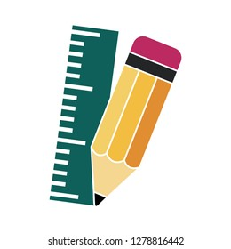 Pencil with ruler icon-school symbol-education illustration-drawing isolated-measurement symbol-sketch sign