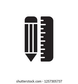 pencil and ruller icon vector design glyph style