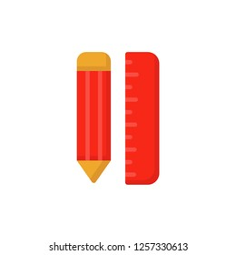pencil and ruller icon vector design flat style