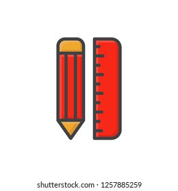 pencil and ruller icon vector design filled outline style