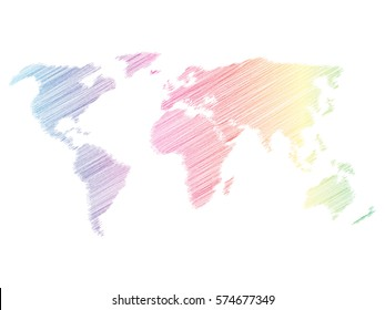 Pencil scribble sketch map of World. Hand doodle drawing. Vector illustration in rainbow spectre colors on white background.