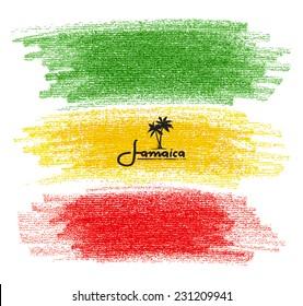 Pencil Scribbles of Rasta Colors. Vector Illustration
