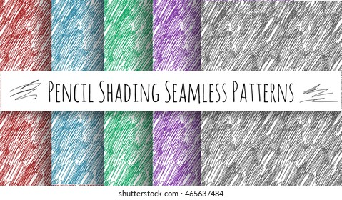Pencil Shading Seamless Patterns for your projects. Hand drawn vector texture backgrounds