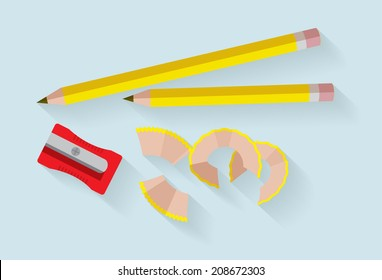 pencil and sharpener vector/illustration