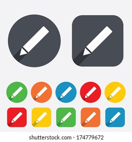 Pencil sign icon. Edit content button. Circles and rounded squares 12 buttons. Vector