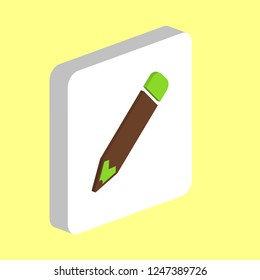 Pencil Simple vector icon. Illustration symbol design template for web mobile UI element. Perfect color isometric pictogram on 3d white square. Pencil icons for you business project