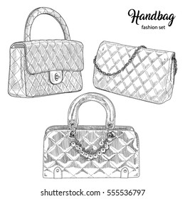 Pencil sketch hand drawn set handbags. Sketching vector fashion illustration isolated on white background.