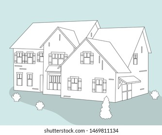 pencil sketch of the house drawn .vector