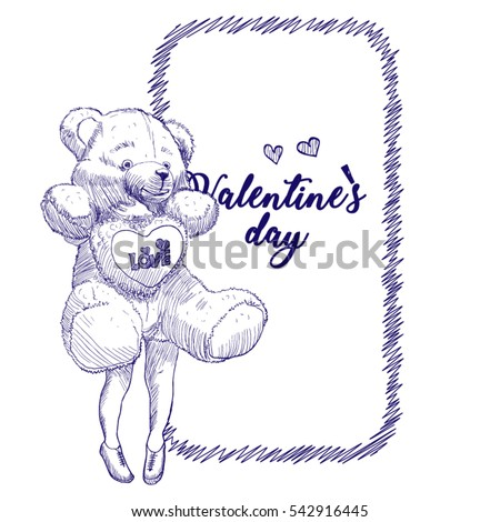 Pencil sketch template design greeting card stock vector royalty pencil sketch template for design or greeting card invitation card for the holiday valentines m4hsunfo