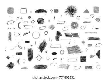 Pencil sketches. Hand drawn scribble shapes. A set of doodle line drawings. Vector design elements. Hatching with a pencil