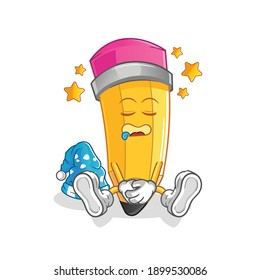 pencil sleeping character. cartoon mascot vector