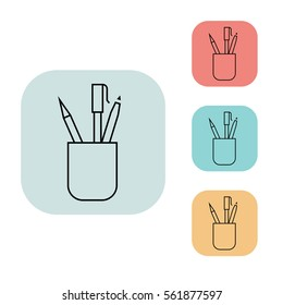 pencil stand icon, outline thin line isolated vector sign symbol, on white, red, blue, yellow and grey background. Office elements. Can be used in logo, UI and web design